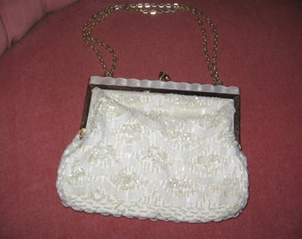 WHITE BEADED EVENING Purse, Formal Bag, 1960's Glamour