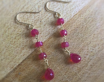 Ruby Earrings - Red Jewelry - July Birthstone Jewellery - Genuine Gemstone - 18K Yellow Gold - LUXE - AAA - Couture