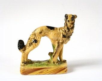 Vintage chalkware hound figurine, Russian wolfhound, dog figurine.