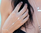 Sterling Silver Filigree Ring Bracelet/ bohemian style bracelet/ slave bracelet with adjustable wrist
