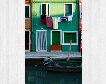 Burano photography, Venezia wall art, Green house, Italy photography, Windows and Doors, Laundry day, Green stripes, Venice Photography