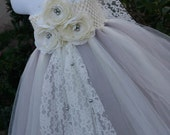 Flower girl dress.  Grey and Ivory Vintage Tutu dress with Pearls. Gray flower girls tutu dress.Ivory dress.Wedding tutu dress.Clothing tutu