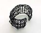 geometric jewelry- Faceted Cuff bracelet in Black. modern design 3D printed. fashion gifts, statement jewelry