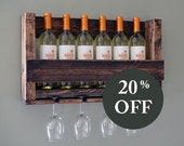 SALE - Wall Mounted Wine Rack Holder - Wine Glass Holder - Housewarming Gift - Wine Rack - Wine Glass Holder - Organizer - Wedding Gift