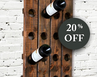 Modern Rustic - Wine Rack - Riddling Style - Wall Hanging - Wine Bottle - Shabby Chic - Wood Wall - Orgzanizer - Gift For Dad - Housewarming