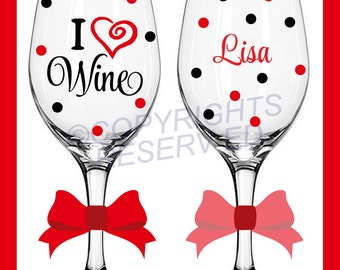 Personalized I LOVE WINE Glasses Stemmed or Stemless with Name on Back with Heart & Polka Dots