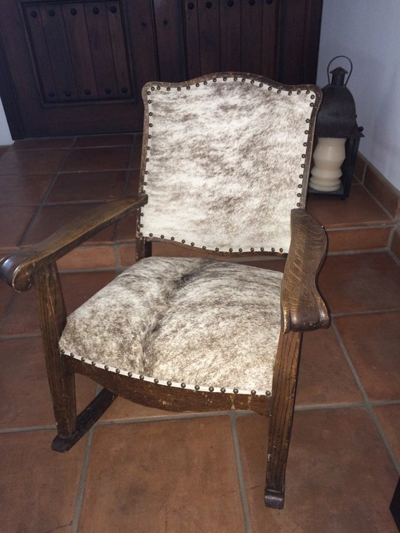 Items similar to Circa 1930s Rocking Chair in Cowhide on Etsy