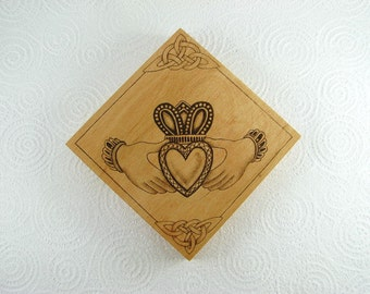 READY-to-SHIP SALE. Claddagh Wall Art. Celtic Wall Hanging. Celtic Art. Wedding Gift. 5th Anniversary Gift. Wood Pyrography. Love Gift