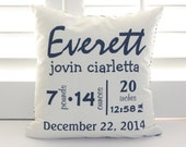 "Custom Throw Pillow - Baby Name and Birth Stats - Navy Chevron Personalized Baby Pillow- 16"" X 16"""