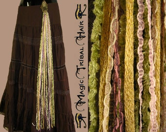 VINTAGE boho belt tassels TRIBAL FUSION yarn hair fall Belly Dance butterfly hip & hair tassel Gipsy hair accessory antique gold rose auburn