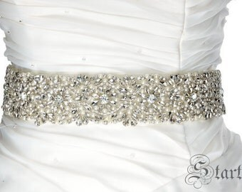 SALE Wedding crystal paerl sash , belt , rhinestone & pearl belt