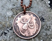 Fuchsia Necklace - 1984 Isle of Man FUSCHIA COIN NECKLACE - blossom necklace - Flower coin pendant - coin jewelry - gardener gift
