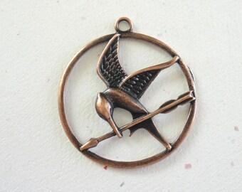 SALE! Arrow And Bird Antiqued Copper Pewter 43x39mm Pendant (ABC3) - 2 Pieces