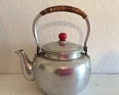 Vintage Aluminum Teapot - Red Lid - Midcentury - Collectable - Small Teapot - Toy Teapot - Vintage kitchen - Farmhouse Decor