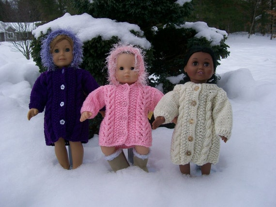 19) Knit Sweater Coats Hood or NO Hood Cable Lace Trim 10 12 15 18 Inch Dolls  American Girl  Cabbage Patch  Bitty
