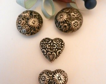 Vintage Floral Silver Embossed Button Covers