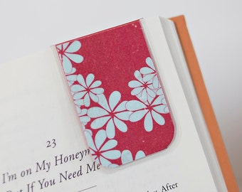 Magnetic Bookmark, Laminated Bookmark, Red Bookmark Blue Flowers, Floral Bookmark
