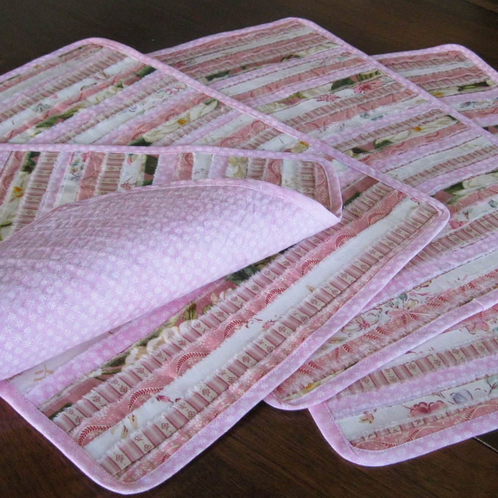 Quilted Pink Placemats Romantic Placemats Pastel Placemats