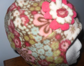 Coral and Cream colored Doulble Fleece Hat with earflap and fleece flower