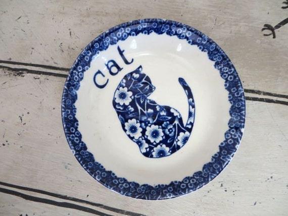 Blue Calico Cat Dish