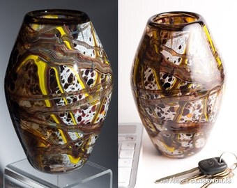 "Unique Hand Blown Modern Art Glass Vase - Abstract Earth Tones with Organic ""Basket"" Shape"