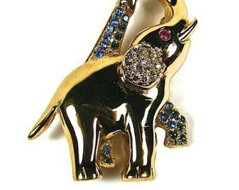 Vintage Gorham Gold Vermeil Elephant With Swarovski Crystals Pin