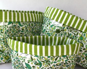 Green Floral and Stripe Storage Bins, Cloth Bins, Organization