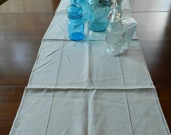 Vintage Light Oatmeal Color Linen Runner Dresser Scarf Table Topper
