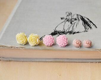 Spring Love Flower Stud Earrings Set