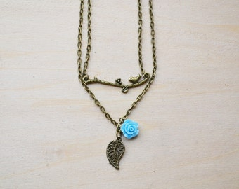 Bronze Branch and Blue Rose Necklace Set