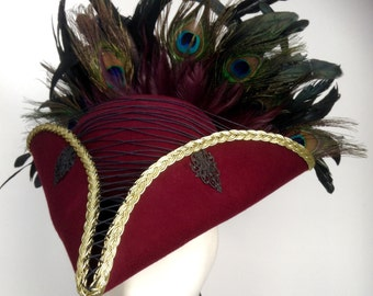 Steampunk pirate hat burgundy tricorn