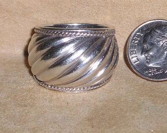 Vintage Sterling Silver Rippled Cigar Band Ring Man Or Woman 1960's Size 8 Signed Jewelry H36