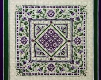 Sweetheart Tree Purple Vinca Counted Cross Stitch Kit