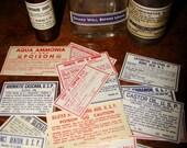 17 Antique Apothecary Labels Poison Medicine Chemical