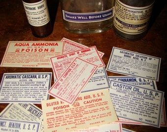 17 Antique Apothecary Labels Poison Medicine Chemical