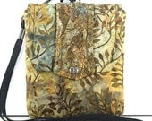 SALE ITEM/ Batik Nature Print Small Padded Pouch / Camera Case / Ready to Ship