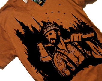 Lumberjack Woodland T Shirt - Mens Woodland Mountaineer T shirt - Gift Ideas - Gifts for him - Husband - Brother - Boyfriend - Guys Mountain