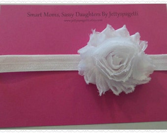 SALE- White  Shabby Chic Headband or Hair Clip- Flower Girl, Bride, Birthday, photo props