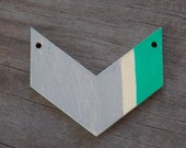 10 Wood Chevron Pendants Green and Grey Chevron Handpainted 4.5cm Discount Price Imperfect