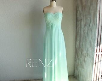 Bright Mint Bridesmaid Dress, Long Wedding Dress, Empire Chiffon Prom Dress, Sweetheart Strapless Formal Dress (B066)-Renzrags
