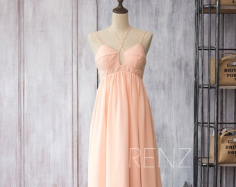 2015 Long Chiffon dress Bridesmaid dress with Straps, Peach Empire Wedding dress, Backless Prom dress, Blush Maxi dress floor length (F086)