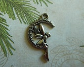 Antiqued Silver Plated Pewter One-sided Fairy with Moon & Star Drop Charm Pendant