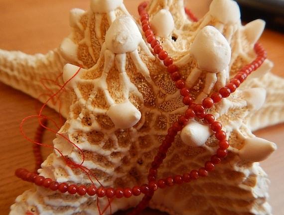 """One Strand Bamboo Coral Dark Red Round Beads 1mm 15"""" Strand"""