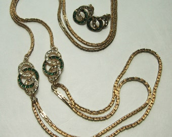 60s French Mod Deco Style Green Rhinestone Long Necklace Sautoir Earrings