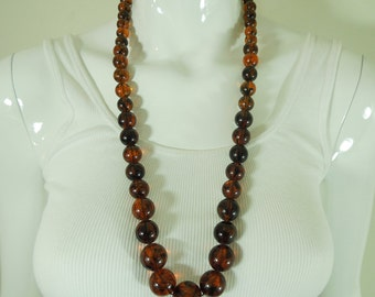 Statement 1960s Amber Tortoise Lucite Marbled Long Necklace Jet Set Tribal Chic