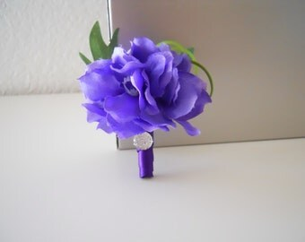 Purple Hydrangea Pin Boutonniere/Corsage