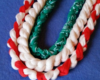 Three Recycled T-shirt Fabric Necklaces - red, white, green - Christmas holiday necklaces, crochet tshirt yarn tarn