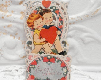 1930s Used Valentine Stand Up Card Holding Heart Germany