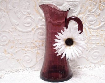 Tall Amethyst Pitcher Vintage Stunning 11.5