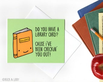 Library Card Pick-up Line Card with Envelope Blank inside